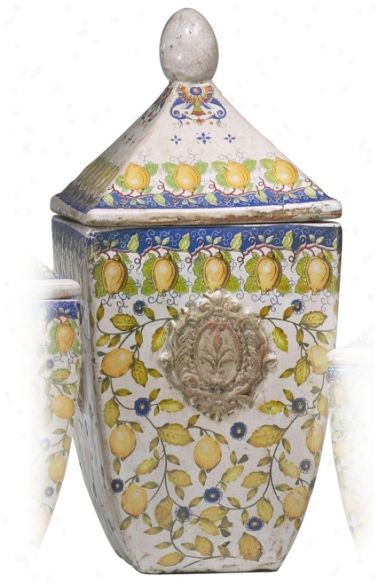 Tuscan Language of Italy Large Ceramic Biscotti Container (r0259)