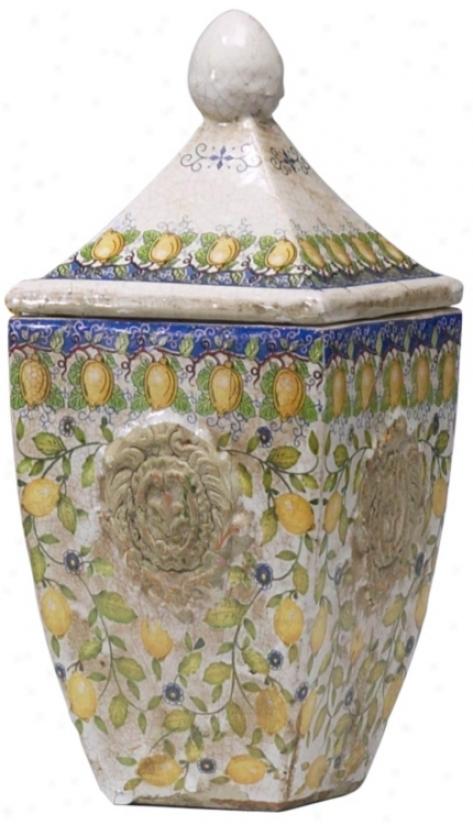 Tuscan Italian Small Ceramic Biscotti Container (r0257)