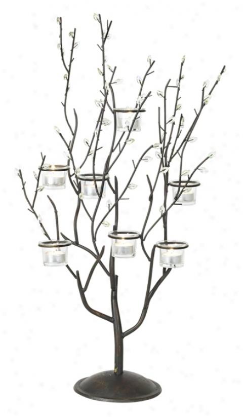 Twig And Leaf Votive Candelabra Candle Holder (66405)