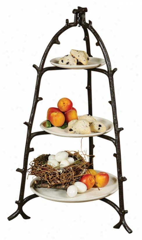 Twig Hand-cra fted 3-tier Server (j5652)