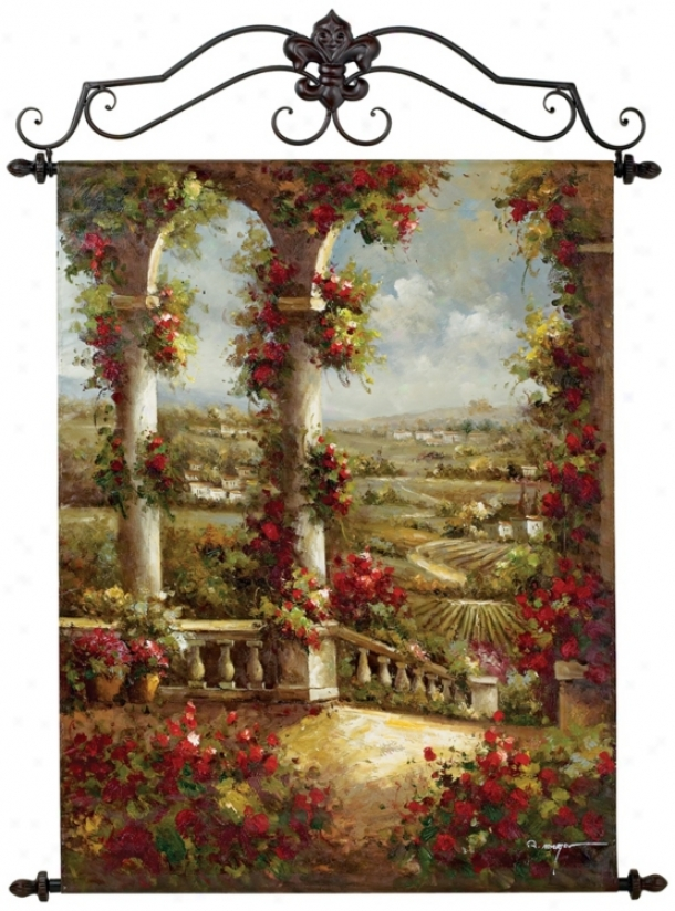 "Two Columns Hand Painted Oil On Canvas 40"" High Wall Decor (n4081)"
