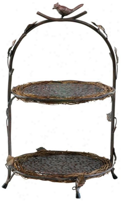 Uccello Iron And Wood Tray Stand (v1548)