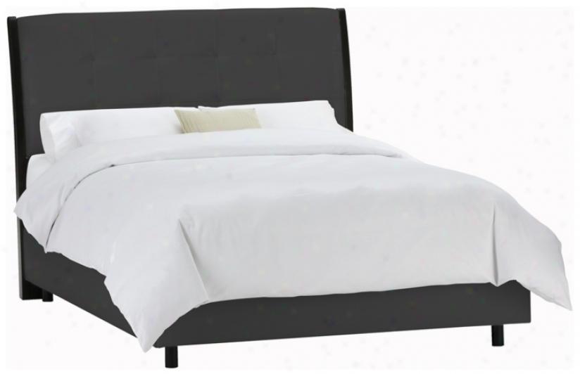 Upholstered Headboard Black Microsuede Bed (california King) (p2427)