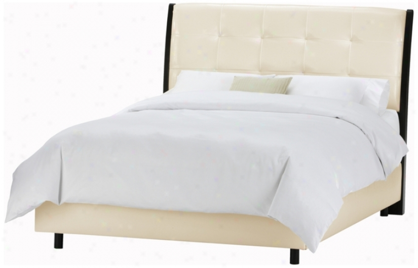 Upholstred Headboard Bone Vinyl Bed (california King) (p2480)