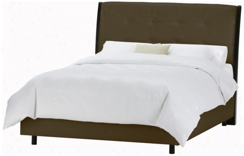 Upholstered Headboard Brown Vinyl Bed (california Sovereign) (p2517)