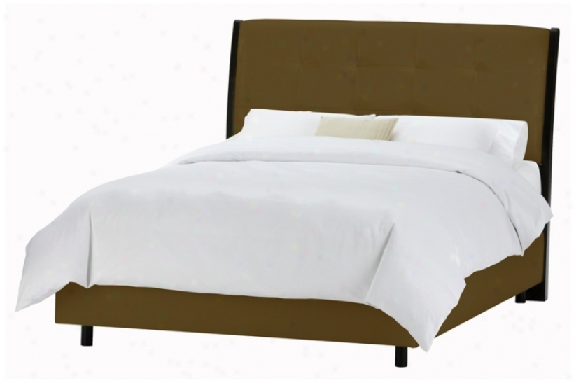 Upholstered Headboard Chocolate Microsuede Bed (king) (p2913)