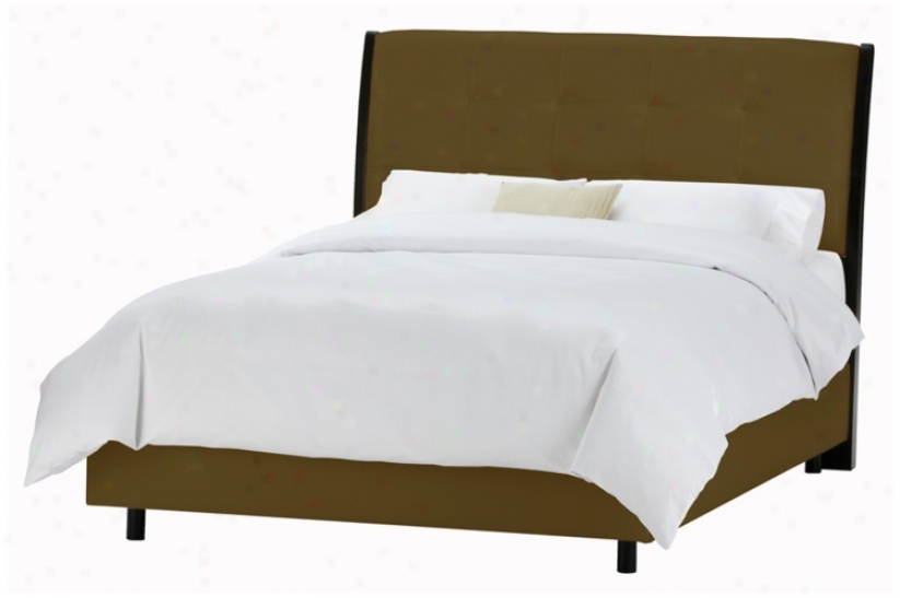 Upholstered Headboard Chocolate Microsuede Bed (queen) (p2912)