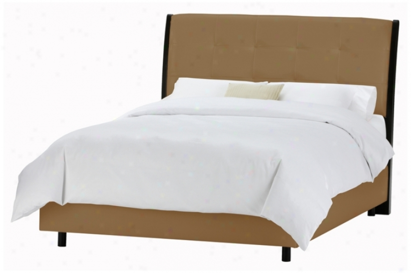 Upholstered Headboard Khaki Microsuede Bed (queen) (p2940)