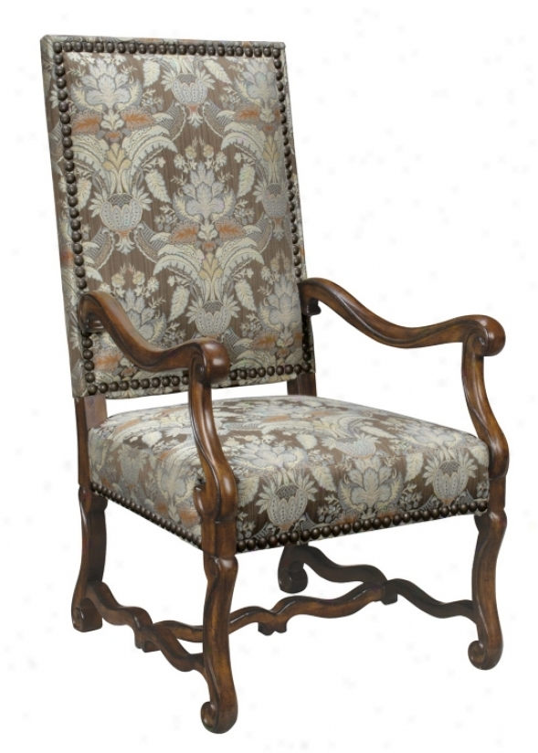 Upholstered High Back Floral Print Arm Chair (g2778)