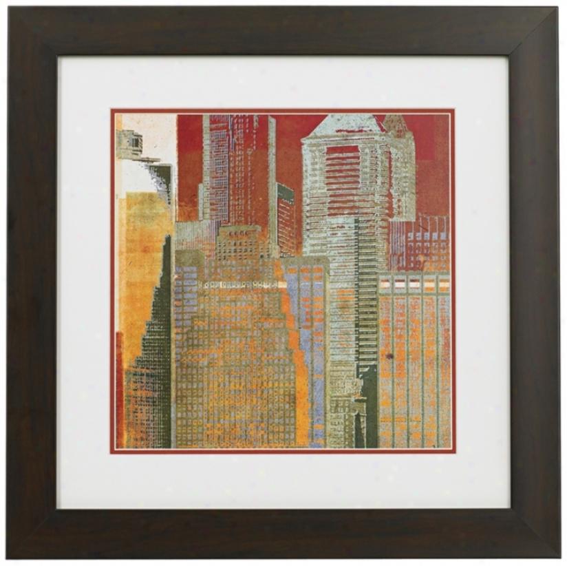 "Urban Blocks I Framed 19"" Square Wall Art (n3617)"