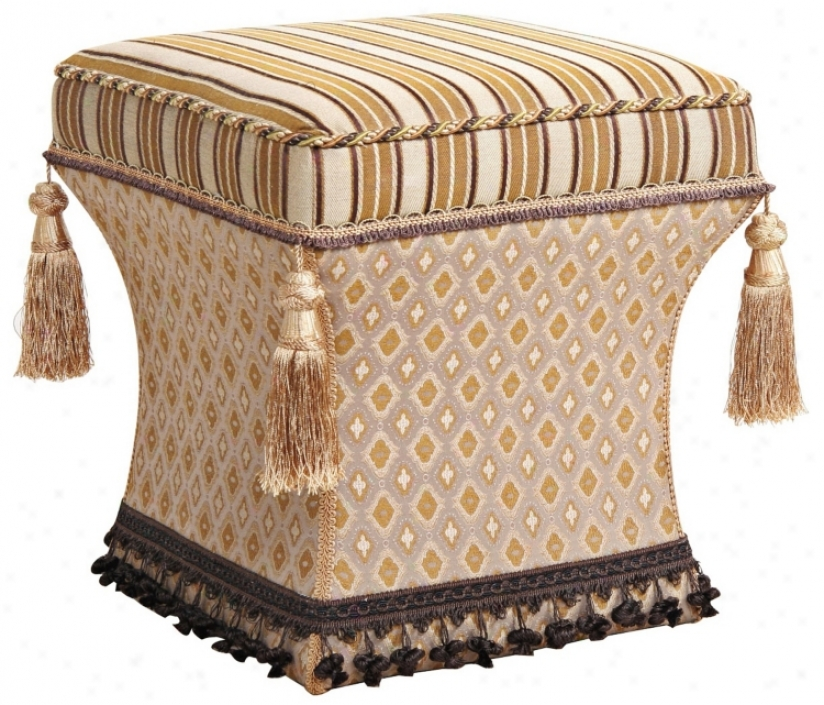 Valenciaga Stripes And Tassels Pedestal Ottoman (u0751)