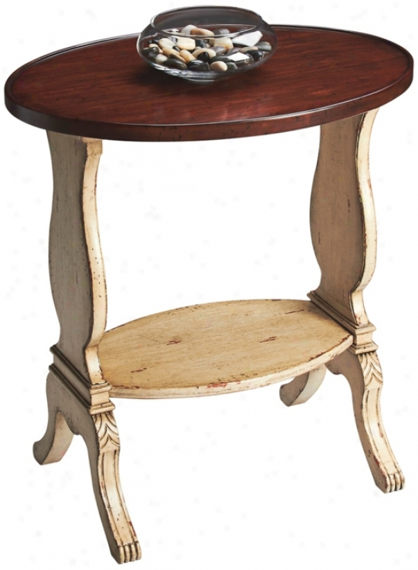 Vwnilla And Cherry Wood Oval Accent Stand  (u4776)