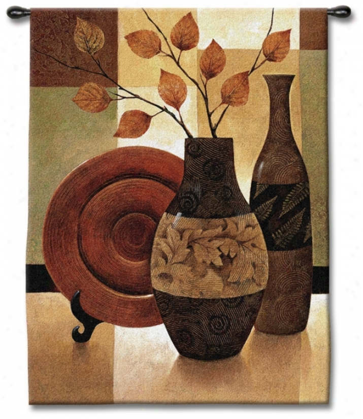 "Vessels And Patchwork 53"" High Wall Tapestry (j8912)"