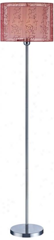 Vicky Burgundy Organza Shade Lite Source Floor Lamp (v1088)