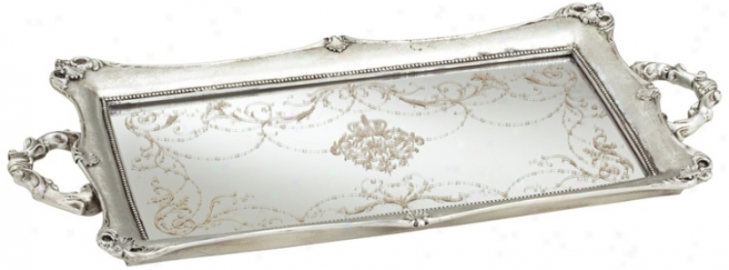 "Victoria Large 22 1/2"" Wide Silver Mirrored Tray (u4229)"