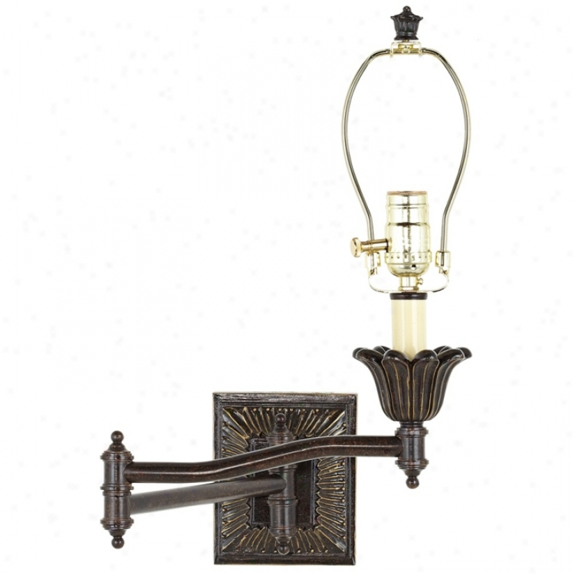 Victorian Bronze Plug-in Style Swing Arm Wall Lamp Base (u3743)