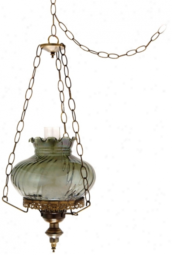 "Victorian Swirled Glass 13"" Wide Plug-in Swag Chandelier (j7142)"