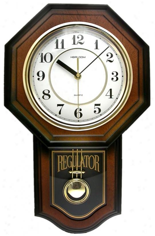 "Vienna Brown Pendulum 18 3/4"" High Wall Clock (64259)"
