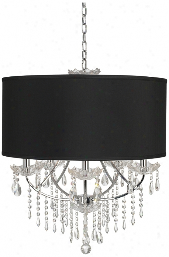 Vienna Full Spectrum  26&qquot; Wide Black Fabric Chandelier (m3234)