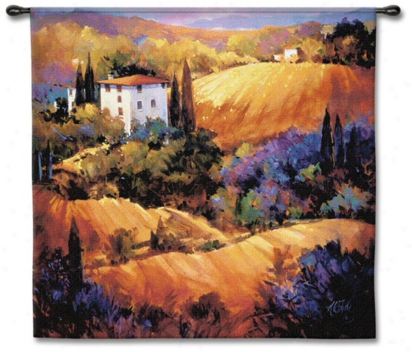 "Villa On The Hillside 53"" Square Wall Tapestry (j8630)"