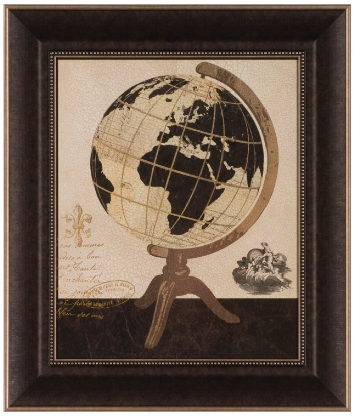 "Vintage French Globe 25 1/2"" High Framed Wall Art (t02O6)"