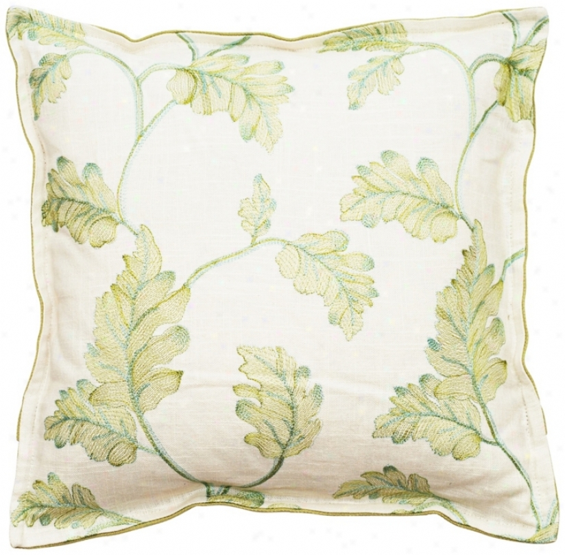 "Vintage Garden Spring Green And White 18"" Square Pillow (t6202)"