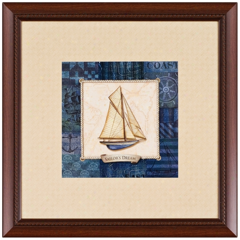 "Vintage Sailboat 'sailor&#039 ;s Dream' 23"" Square Wall Art (j6060)"
