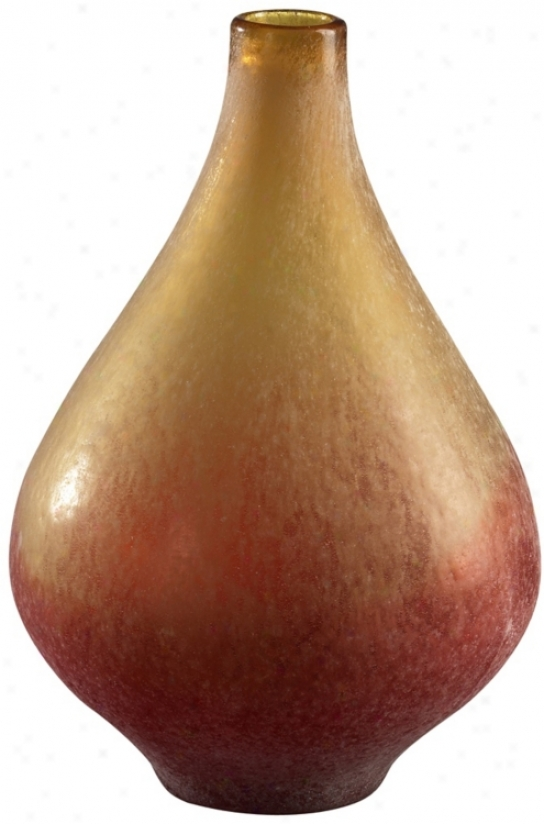 "Vizio Yellow And Orange 13 3/4"" High Art Glas Vase (j0388)"