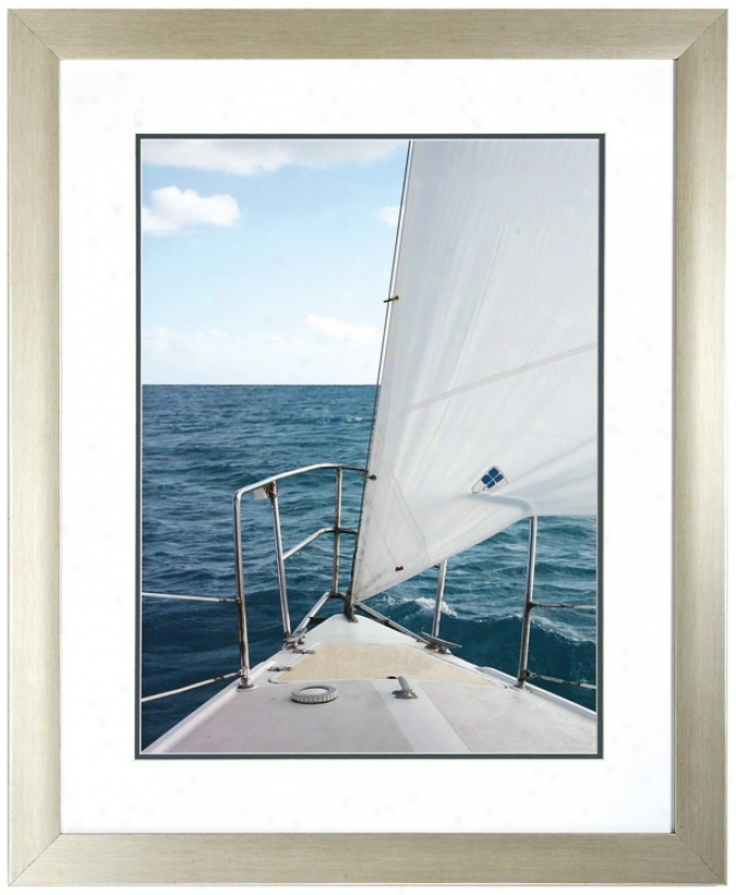 "Voyage I 34"" High Framed Sailboat Wall Aft Print (v6958)"