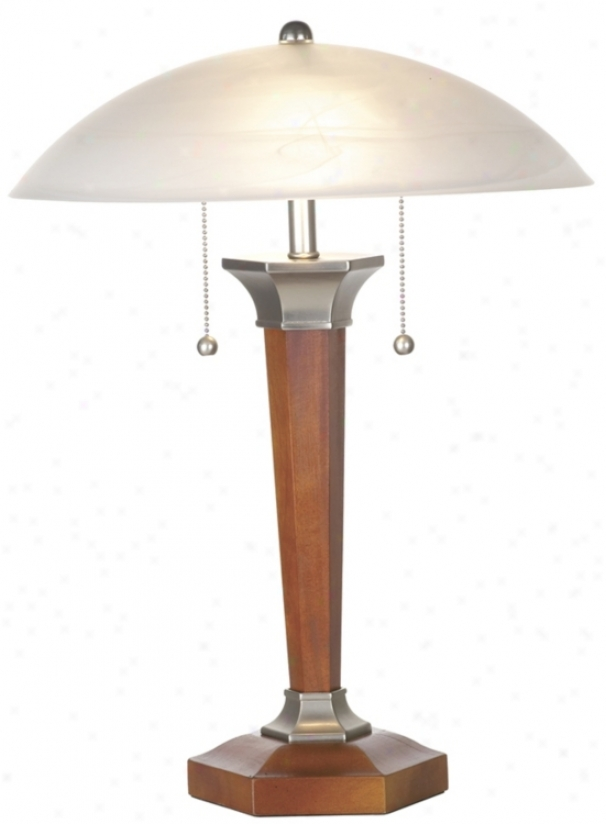 Walnut And Nickel Deco Dome Table Lamp (30705)