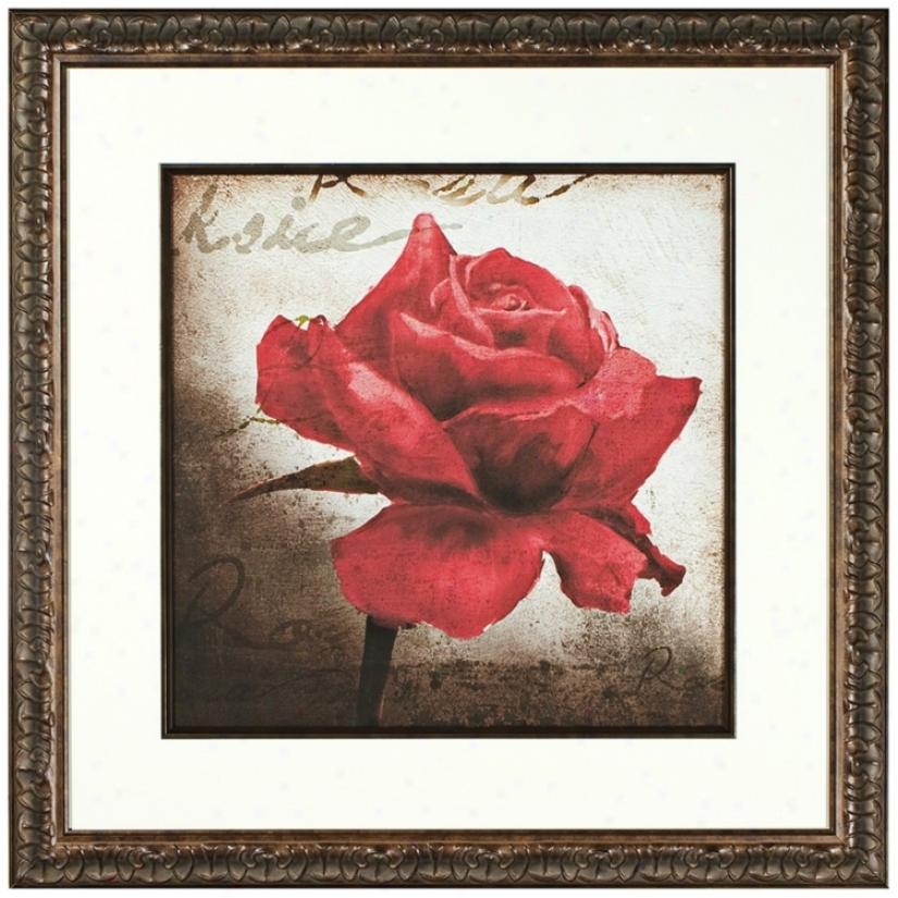 Walt Disney Beauty And The Beast Rose Print Framed Wall Art (j5094)