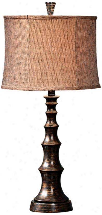 Weathered Bronze Tweedy Lineb Tzble Lamp (j1235)