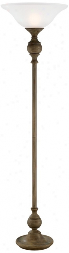 Weathered Faux Wood Finish Torchiere Floor Lamp (t6386)