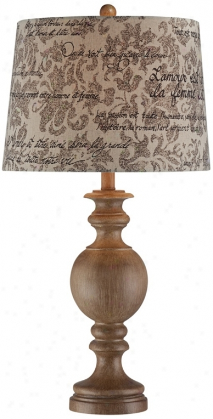Weathered Wood Finish French Script Shade Table Lamp (t6001)