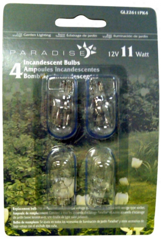 Wedge Pack Of 4 12-volt 11 Watt Light Bulbs (p9758)
