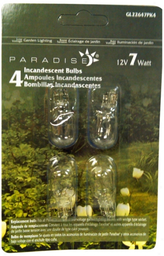Wedge Pack Of 4 12-volt 7 Watt Light Bulbs (r1064)