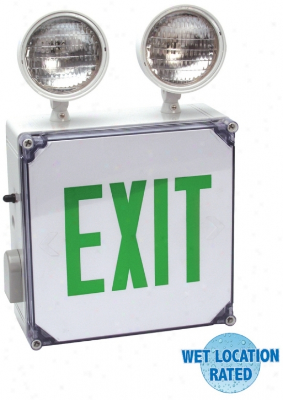 Wet Location Green Emergency Light Exit Sign (54403)