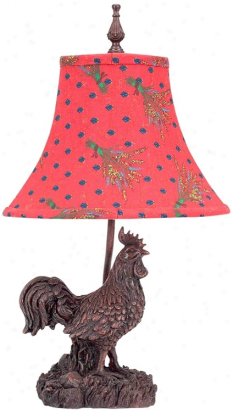 Wheatland Rooster Red And Blue Polka Dot Shade Accent Lamp (v3299)