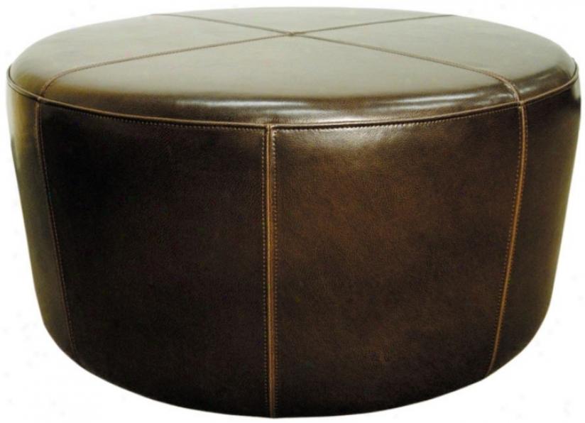Wheel Mocha Bicast Leather Ottoman (t7335)