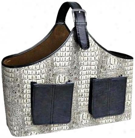 White And Black Faux Crocodile Leather Magazine Basket (v3714)