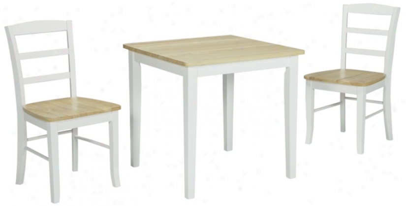 White And Naturwl Wood Table And Dining Chairs (u4297)