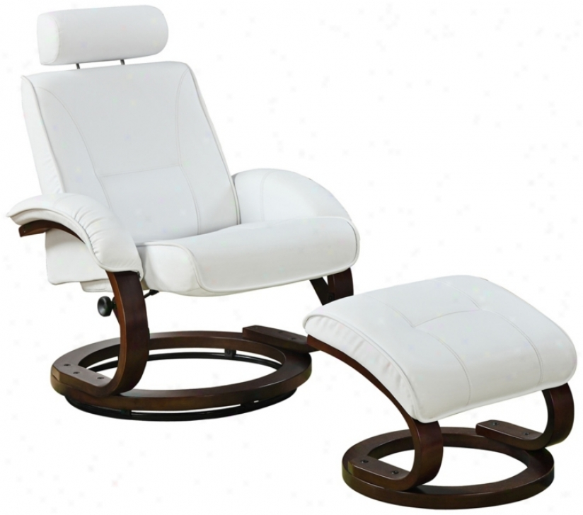 White Bonded Leather Swivel Recliner And Ottoman (w1369)