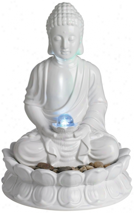 White Ceramic Sitting Buddha Tzbletop Fountain (m2089)