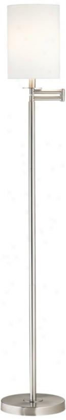 White Cotton Drum Brushed Nickel End Swinh Arm Floor Lamp (42316-00107)