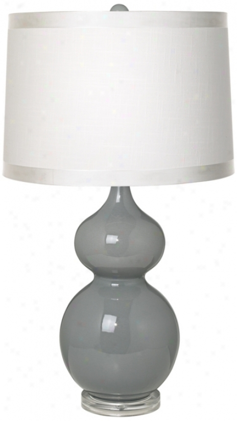 White Drum Shade Double Gourd Slate Grey Ceramic Table Lamp (t5902-r0144)