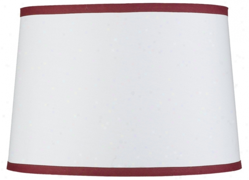 White Drum Woth Red Trim Shade 14x16x11 (spider) (20515)