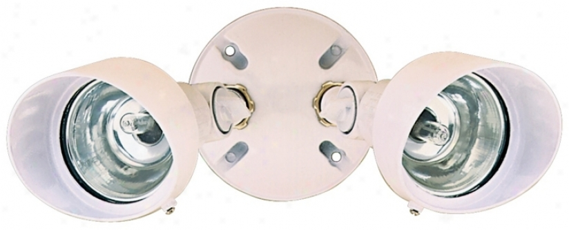 "White Finish 12 1/4"" Wide Twin Halogen Spot Security Light (k6531)"