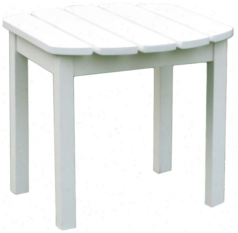 White Finish Wood Outdoor Accent Table (t4755)