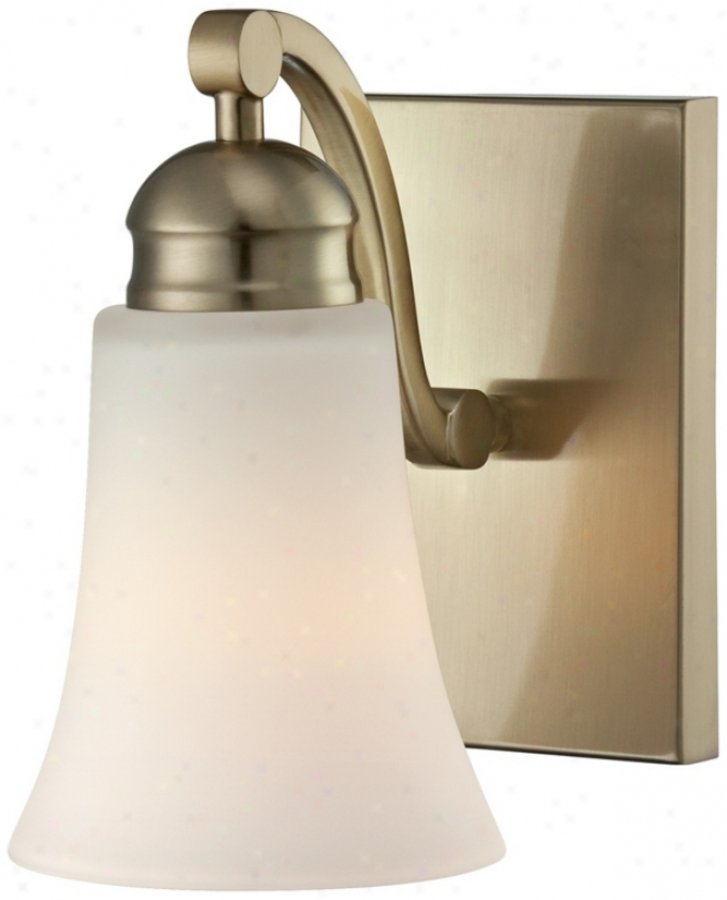 "White Glass 5"" Wide Brushed Brass Wall Sconce (u8270)"