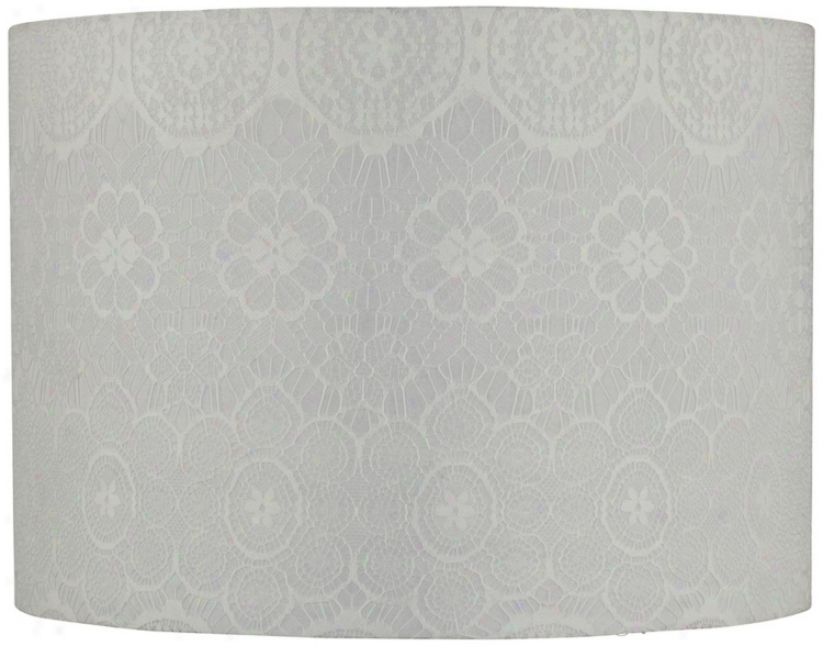White Lace Linen Drum Shade14x14x10 (spider) (v6853)